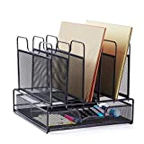 Rackarster Mesh Desk Organizer with Drawer - Vertical Office File Organizer Desktop Document Letter Tray Supplies Storage and 5 Upright Sections, Black