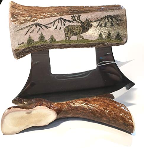 (Alaska Antler Ulu Knife Heavy Handle Scrimshaw Caribou)