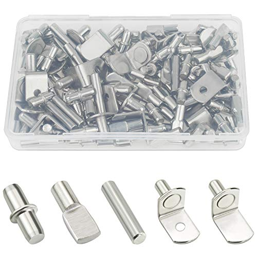 Sutemribor 85PCS Nickel Plated Shelf Bracket Pegs Cabinet Furniture Shelf Pins Support, 5 Styles