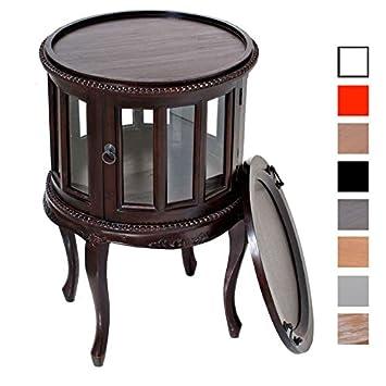 CLP té Mesa Redonda, diámetro de 50 cm, con – Bandeja de té, Caoba de Madera, Cristal
