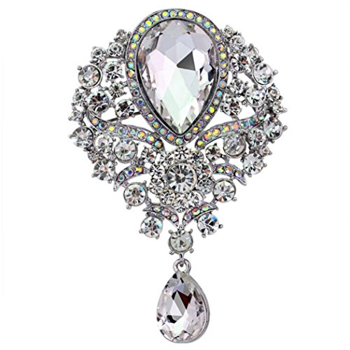 Botrong Large Fashion Drop Pendant Wedding Lady Rhinestone Brooch (White)