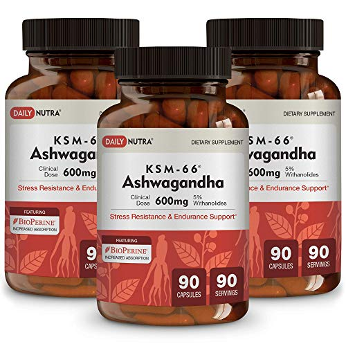 KSM-66 Ashwagandha 600mg Organic Full-Spectrum Root Extract with 5 Withanolides. Health Benefits Include Reduced Stress and Anxiety, Increased Energy and Focus. 3-Pack