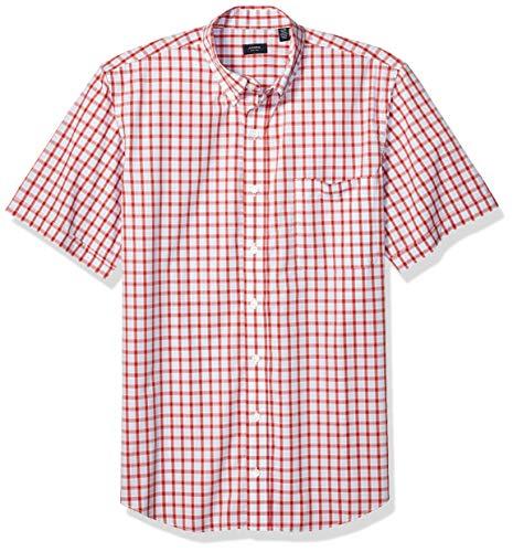 Arrow 1851 Men's Big and Tall Hamilton Poplins Short Sleeve Button Down Plaid Shirt, Cranberry 1, 4X-Large