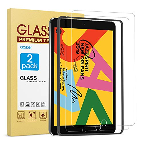 [2 Pack] Screen Protector for iPad 7th Generation 10.2 Inch (iPad 7) 2019 Release, apiker Tempered Glass Screen Protector Compatible with Apple Pencil