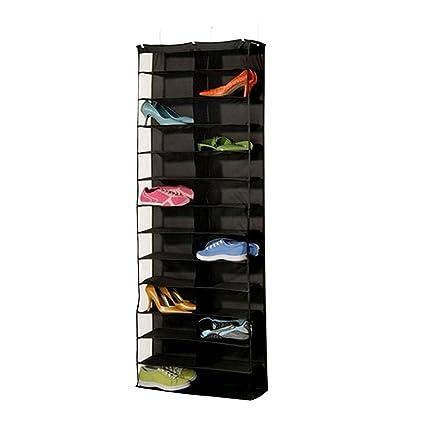 RGANT Door Shoe Organizer Hanging Closet Cabinet Shoes Rack Storage Houseware with 26 Grids (Black)
