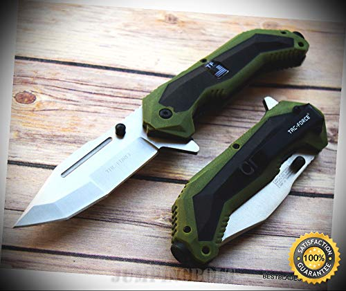 (8.5 INCH SPRING ASSISTED SHARP KNIFE GREEN & BLACK FINISH WITH POCKET CLIP - Premium Quality Hunting Very Sharp EMT EDC)