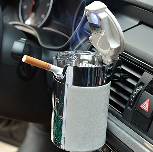 Geekercity Car Cigarette Ashtray Portable Auto Smokeless Tobacco Tray with Car Travel LED Blue Light Air Vent Cup Holder (White)