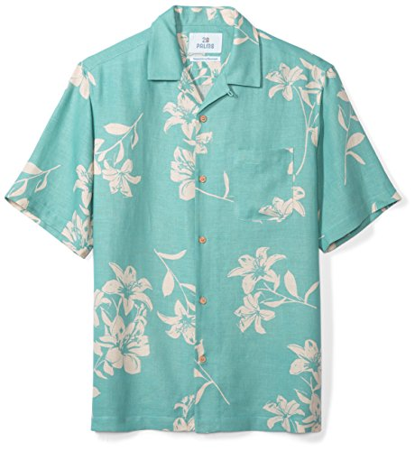 Hawaiian Linen (28 Palms Men's Relaxed-Fit Silk/Linen Hawaiian Shirt, Aqua Vintage Floral, Large)