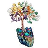 SUNYIK Natural Multicolor Crystal Money Tree,Rainbow Aura Titanium Quartz Cluster Base Bonsai Sculpture Figurine 4 Inch
