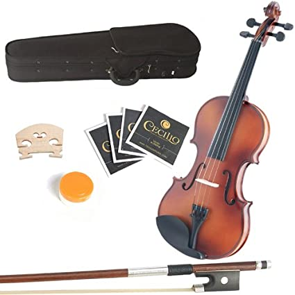 Mendini 13-Inch MA350 Satin Antique Solid Wood Viola with Case, Bow, Rosin, Bridge and Strings 13MA350