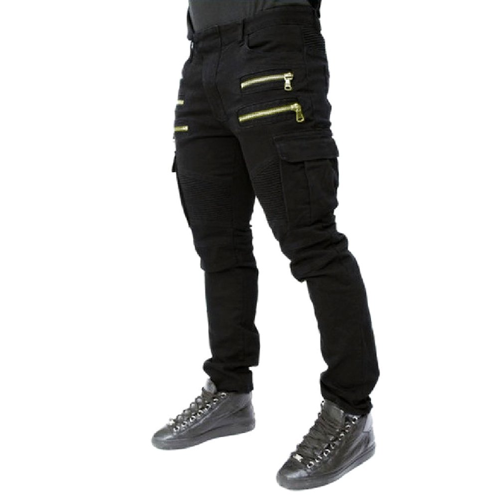 fashion mans slim long denim pants trousers punk motocycle rock denim pants