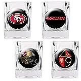 NFL San Francisco 49ers Four Piece Square Shot Glass Set (Individual Logos)