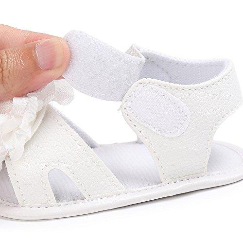 sandalias nina verano baratas Switchali Recién nacido casual zapatos bebe niña primeros pasos sin suela princesa Zapatos floral Sandalias de vestir niña playa Zapatillas Blanco