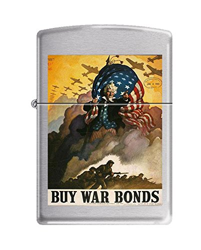 (Zippo US Army Buy War Bonds Brushed Chrome Pocket Lighter)