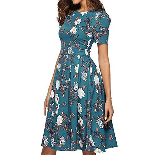 Toponly Short Sleeves Midi Dresses Women Boho Rose Print O-neck Summer Casual Beach Loose High Waist T Shirt Dress]()