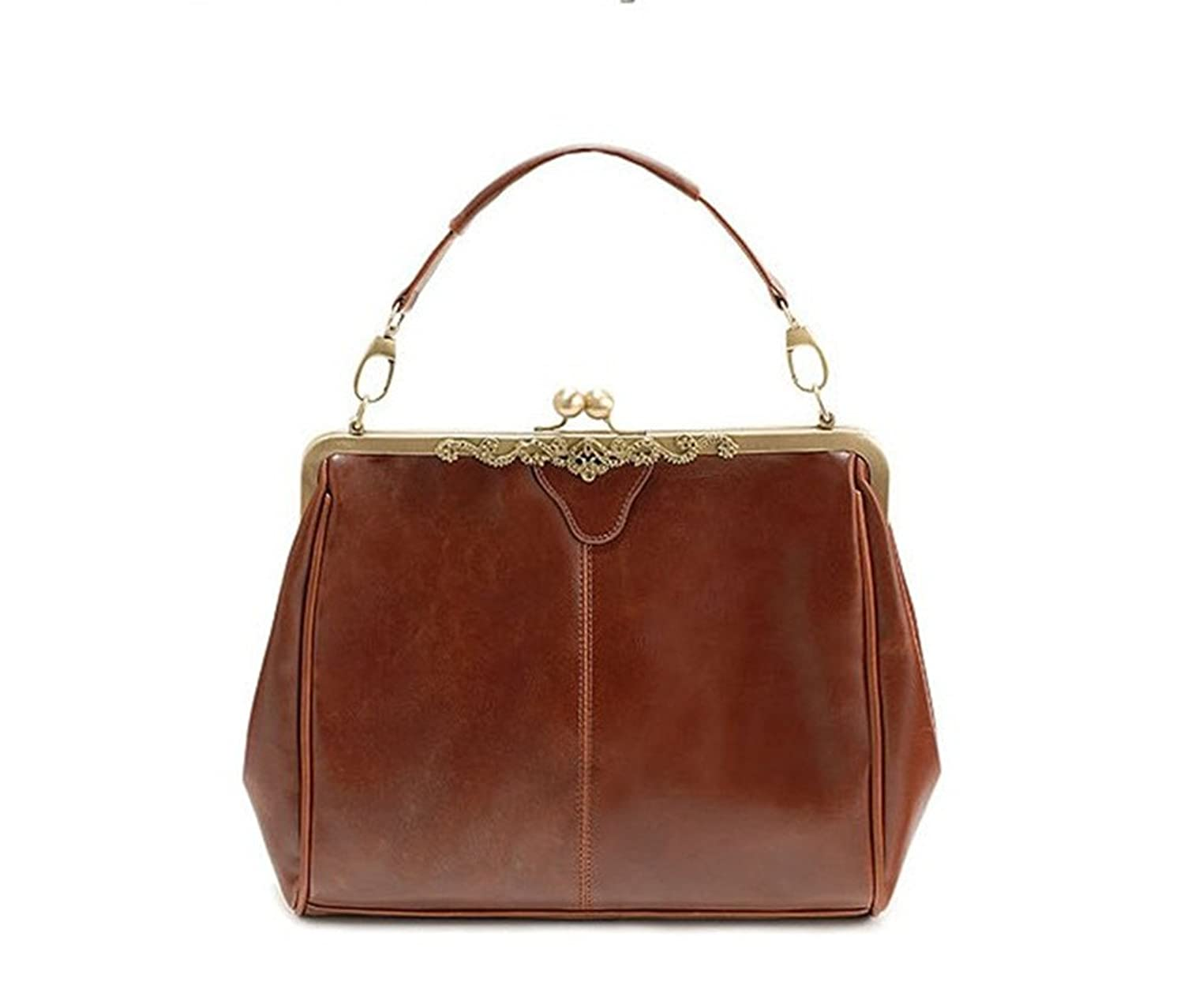 Vintage Style Kiss Lock PU Leather Fashionable Handle Shoulder Bag ... 7923dfc765