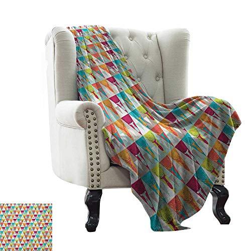 Indie, Weave Pattern Extra Long Blanket, Triangles Pattern with Deer Elk Portraits Geometric Colorful Funky Hipster Tile Urban, Custom Design Cozy Flannel Blanket, (W90 x L110 Inch) Multicolor (Elk Portrait)