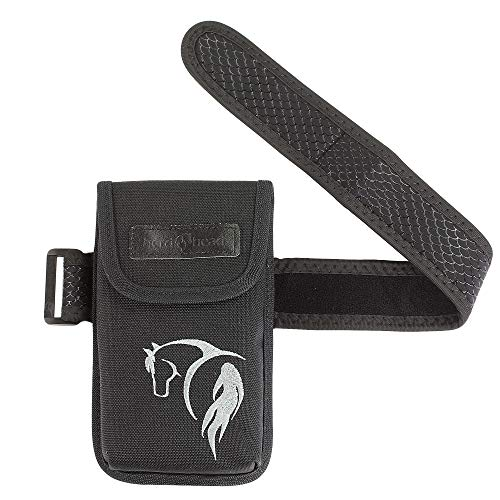 Herd Head Cell Phone Holster for Riders and Hikers w/Interior Pocket, Magnetic Closure & Non-Slip Band   Slim Smartphone Holder Designed to be Worn Just Below The Knee Fits All Phones (Black w/Horse) (The Best Dressage Horse In The World)