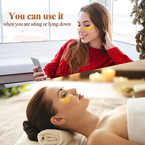 51cZxKrjcSL - 24K Golden Collagen Eye Pads - Gel Eye Mask for Eyes Treatment Puffiness Anti Aging Removing Bags Deep Hydration Relieve Dark Circles Under Eye Gel Mask for Women and Men (20 Pairs)