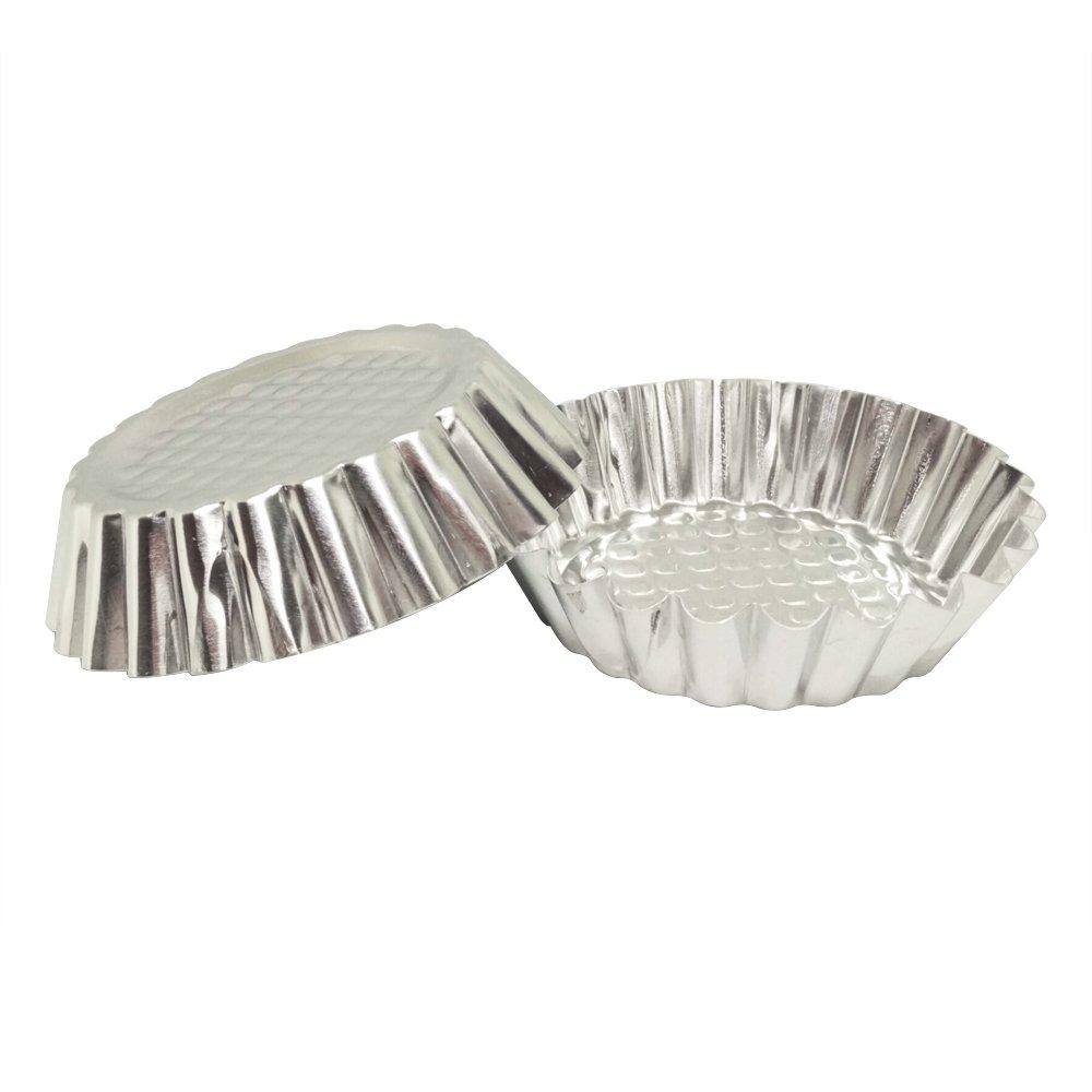 Set of 30, MYStar 3-3/4'' Fluted Design Round Shape Non-stick Aluminum Tart Mold, Mini Pie Tin, Tartlet Pan
