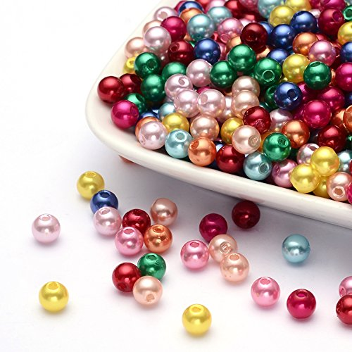 200 Multi-Color Acrylic Assorted Round Pearl Beads- Wedding Jewelry Making (6mm, Multi-color) - Multi Color Lucite Bead