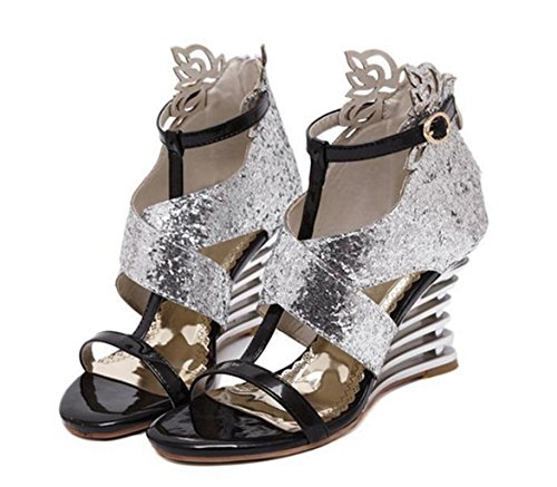 HETAO Personality Crossover Ladies Girl's Heel Shoes Size Strappy Toe Wedding Gift Party Womens Sequins Sandals Open Prom High color rrFzqSd