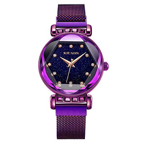 Ladies Fashion Wrist Watch KICADN Women's Waterproof Casual Crystal Quartz Star Dial Watch with Purple Magnetic mesh Belt ... (Light - Quartz Ladies Crystal Watch