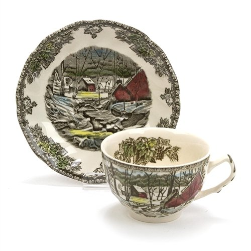 The Friendly Village by Johnson Brothers, China Cup & (Sterling Tea Saucer)