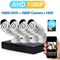 4-Channel 1080P CCTV Security Camera System ,1080N AHD-DVR Recorder with 1TB HDD and (4) 2.0MP 1080P(2000TVL) Night Vision Indoor/Outdoor Weatherproof Surveillance Bullet Cameras