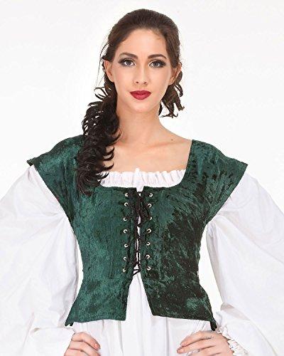 Pirate Wench Peasant Renaissance Medieval Costume Corset Bodice (Small, Green) - Bodice Pirate