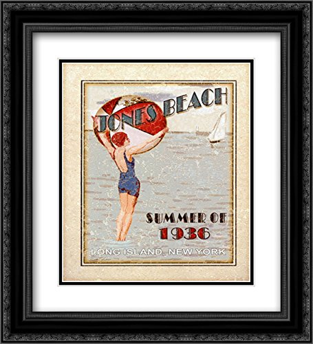 Sally ray Cairns - Jones Beach 2x Matted 20x24 Black Ornate Framed Art Print by Sally Ray - Rays Cairns