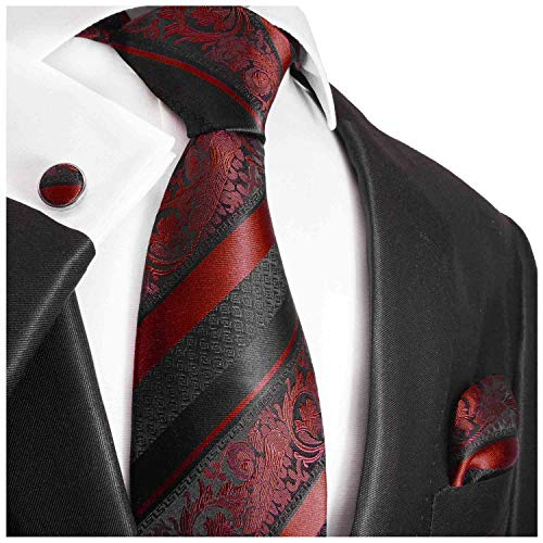 Extra Long Burgundy and Black Paul Malone Silk Necktie, Pocket Square and Cufflinks Set