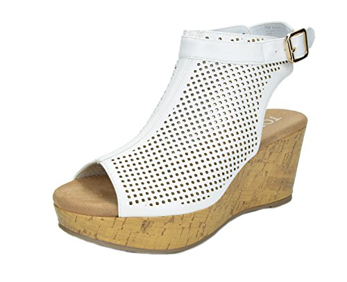TOETOS Women's Sandro-03 White PU Mid Heel Platform Wedges Sandals - 8.5 M US - Ladies Wedge Sandal