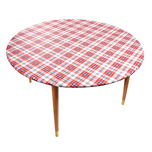 Round Vinyl Tablecloth with Stitched Elastic Edge for Tight Fit - 58 Inch, Heavy Duty, Felt Backed, Plaid Pattern Table Cover for Easy Clean Up - Red, Blue, White - Fits Up to 58 inch Circular Table