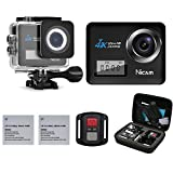 Action Camera ,Nicam N6A 4K 20MP WiFi Sports Waterproof Camera with Dive House and Dual Display Screens, 170° Wide Angle Camcorder with Remote Control and 19 Mounting Kits in Carry Bag