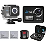 Action Camera, 4K 20MP WiFi Sports Waterproof Camera with Dive House and Dual Display Screens, 170° Wide Angle Camcorder with Remote Control and 19 Mounting Kits in Carry Bag