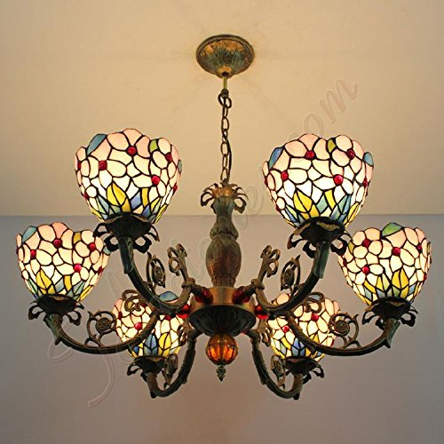 ETERN Simple Pink Princess Stained Glass Lamp Retro Chandelier Pendant Light 6 Lights