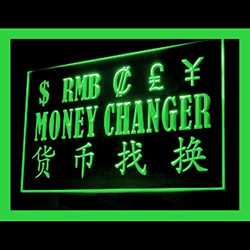 Money Exchange Instant Currency Private Currency Simple LED Light Sign 190110 Color Green by Easesign