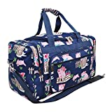 NGil JP Duffel Bag Travel Beach Luggage Camp Gym School Dance Cheer Sports Tote 20″ (Pig Farm AG Pink Navy Blue) For Sale