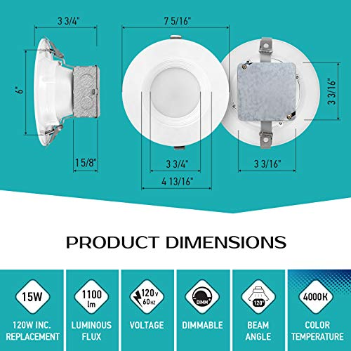 LUXTER (12 Pack) 6 inch LED Ceiling Recessed Downlight With Junction Box, LED Canless Downlight, Baffle Trim, Dimmable, IC Rated, 15W(120Watt Repl) 4000K 1100Lm Wet Location ETL and Energy Star Listed by Luxter (Image #3)