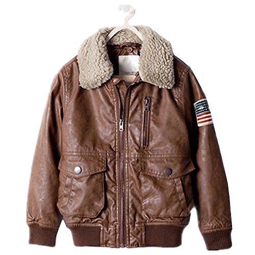Aviator Jacket Coat - QJH Boys' New Faux Leather Aviator Jacket Cotton Padded Coat