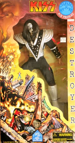 KISS - 1998 - Art Asylum - KISS Destroyer - Ace Frehley : Space Ace - Giant 24 Inch Action Figure - Numbered #7697 - Authentic Costume / Ultra Articulation / w/ COA / Devastated City Base w/ Audio From Album - VERY RARE - Out of Production - New - Limited Edition - Collectible