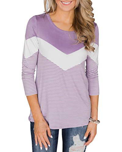 Womens Fall Long Sleeve Striped Tops Crewneck Chevron Casual Lightweight T Shirt Blouses