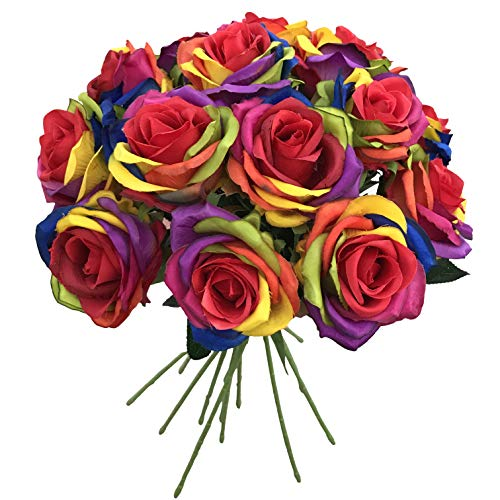 (BELLAUSA 15 Pcs Rainbow Roses Silk Artificial Rose Flowers Home Decorations for Wedding Party or Birthday Garden Bridal Bouquet Flower Saint Party Event (Rainbow Rose) )