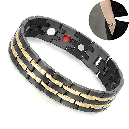 Magnetic Therapy Bracelet for Men Stainless Steel Energy Wristbands Link Chain with Magnets Gold Black Arthritis Jewellery Clasp