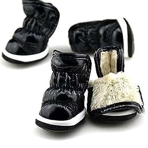 Amazon.com : Black Pet Puppy Soft PU Leather Winter Warm