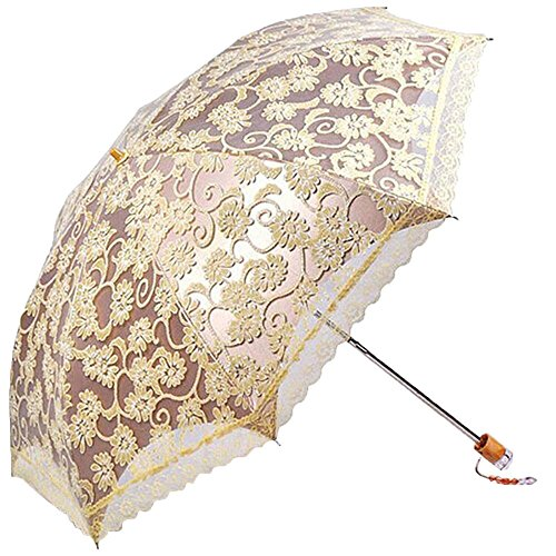 MiiHome Ladies Umbrella Lace Parasol Folding Umbrella Sun Shade Anti-uv (Yellow) -