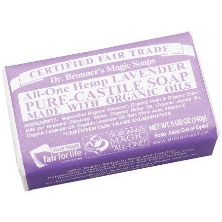 Dr. Bronner's Magic Soaps: Pure Castile Soap Bar, Lavender 5 oz (5 (Lavender Pure Castile Bar Soap)