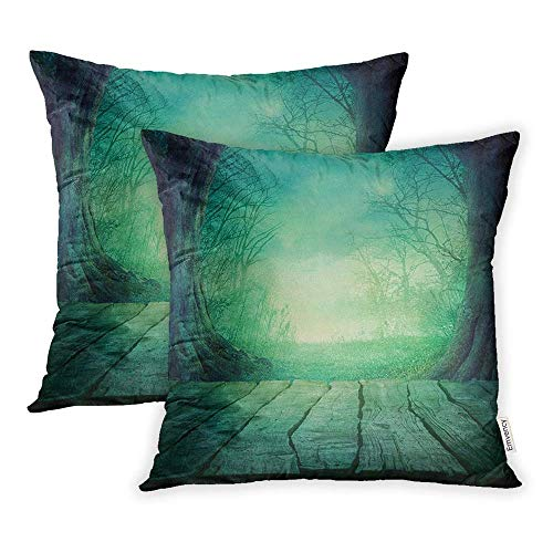 HFYZT Set of 2 Throw Pillow Covers Blue Haunted Halloween Spooky Forest Dead Trees and Wooden Table Wood Horror Pillowcase 18x18 Square Decor for Home Bed Couch Sofa