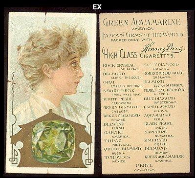 1889 Kinney N218 Famous Gems of the World (Non-Sports) Card# 13 Green Aquamarine America Ex -